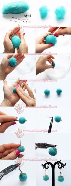 Pendientes de bolas de lana afieltrada