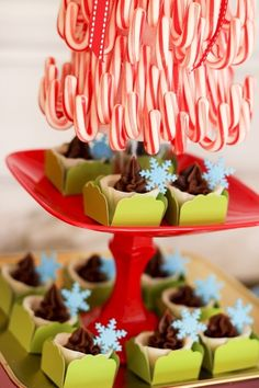 Pretty candy decor at an Elf on the Shelf party!  See more party ideas at CatchMyParty.com!  #partyideas #christmas