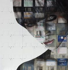 Portraits on Floppy disks. Eyes are made of spindles, but there are also a lot of other interesting places where he chooses to let the hardware/labels show through. (via Calli)