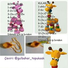 Stuffed Toys Patterns, Crochet Necklace, Stitch, Dolls, Flowers, Handmade, Free, Milk Box, Giraffes