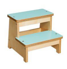 Handmade step stool for kids in white or aqua   Ella Meno Pea Designs
