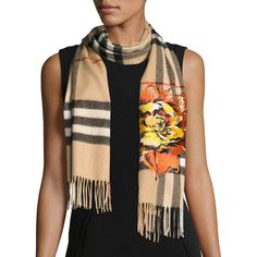 Burberry Floral Cashmere Check Scarf featuring polyvore, women's fashion, accessories, scarves, accessories scarves, wrap shawl, cashmere scarves, cashmere shawl, burberry scarves and cashmere wrap shawl
