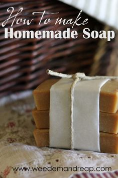 Homemade Soap  12 oz. partially frozen goat's milk or canned coconut milk (measure into ziploc bags and freeze until you're ready to use) 3 oz. lye 10 oz. coconut oil 12 oz. lard (preferably from a pastured pig) 0.5 oz. of essential oil