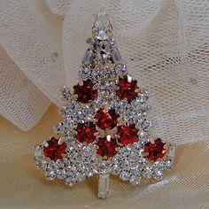 Vintage Inspired Swarovski Crystal Christmas Tree Brooch Pin, Christmas Gift, Xmas Tree, Red Rhinestone Goldtone Tree. $19.99, via Etsy.
