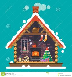 Картинки по запросу christmas house illustration