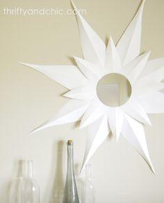 diy sunburst mirror made from poster board!