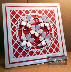 Die'sire Delicate Flower. Die'sire Ornate Lattice Create a Card -  Centura Pearl Card, Collall 3D Gel, All Purpose and Tacky glues. Red card and gems - #crafterscompanion