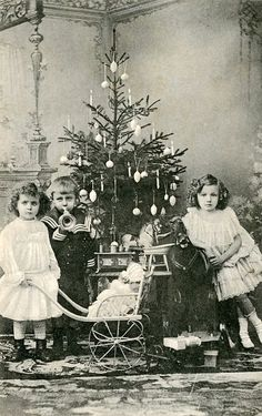 Here is Christmas of kids more than 100 years ago.     A little girl and her Saint Bernard deliver Christmas, ca. 1910s      an American Chr...