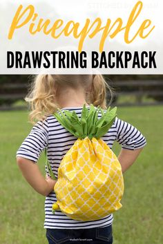Pineapple Drawstring Backpack is an easy DIY drawstring backpack that is in a fun shape of a pineapple. Whether this is for a child or pre-teen this easy sewn drawstring bag is a must make. Sewing Projects For Kids, Sewing For Kids, Diy Craft Projects, Diy For Kids, Sewing Ideas, Sewing Kits, Geek Crafts, Craft Ideas, Sewing Class