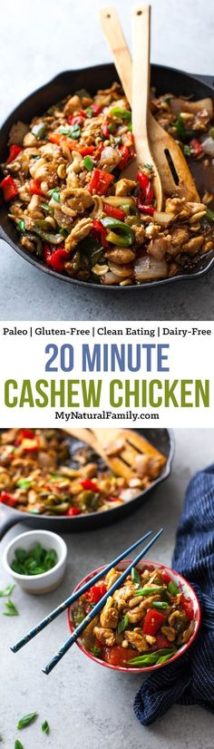 This cashew chicken recipe only takes 20 minutes to make and is sweet and tangy with a crunch from the cashews. I love how it uses ingredients I already have. My children love this Paleo chicken recipe!
