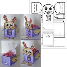 Fichier PDF téléchargeable En noir et blanc seulement 2 pages  Voici un petit bricolage assez simple pour Pâques. Les élèves peuvent utiliser cette boîte pour y déposer leurs cocos de Pâques, une carte ou un dessin roulé. Je n'ai utilisé que du papier et la boîte se tient bien. Vous pourriez coller le modèle sur un carton pour une meilleure solidité, par contre le tout sera un peu plus difficile à plier.