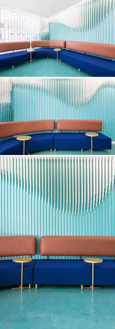 Throughout this modern dental clinic, including the waiting room,there's a sculpture of 2884 wooden strips that hang from the ceiling and overwhelm some of the main walls with the aim to recreate a smile. #WallSculpture #InteriorDesign #WaitingRoom