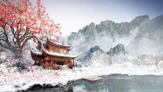 Drawings Japanese Landscapes Paintings HD Wallpaper
