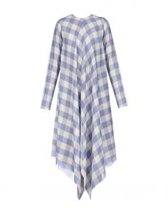 White and Ink Blue Checkered Handkerchief Dress