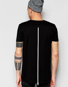 ASOS Longline T-Shirt With Zip Back And Mesh Insert