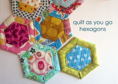 Supplies Cereal box Paper scissors X-acto knife Fabric scissors or rotary cutter & mat Sewing machine Clips or pins Printed out hexagon shape or hexagon tracing tool Clear ruler with marki… Quilting Tutorials, Quilting Projects, Sewing Projects, Quilting Tips, Quilting Designs, Hexagon Patchwork, Hexagon Quilting, Hexagon Quilt Pattern, Quilting Thread
