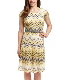 Loving this Sharagano Yellow & Gray Zigzag Belted Cap-Sleeve Dress on #zulily! #zulilyfinds
