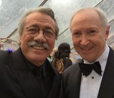 Edward James Olmos, Aubrey Chernick at the 2015 Annual Children Uniting Nations Oscar Party.