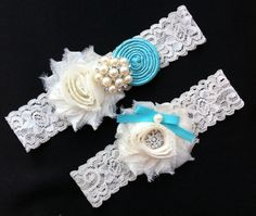Wedding Garter Set / Tiffany Blue Wedding Garter Set / Bridal Garter Set / Ivory Lace Garter set on Etsy, $18.50