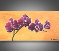 ORIGINAL ORCHID PAINTING Aurbergine Glow 12 by CustomArtByAlexis