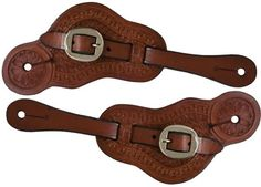 NEW HORSE TACK! Showman Youth Size Western Spurs w// Engraved Leaf Design!