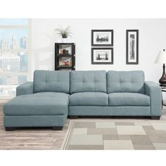Would you call this aqua or sky blue? Whether you think it's the color of the sky or of the ocean, it's perfect for daydreaming the afternoon away. Gloria 2 Pc. Sofa Chaise | Weekends Only Furniture and Mattress
