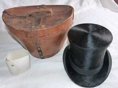 Antique French beaver top hat traveling leather box w black silk victorian top hat, antique luggage w labels, inner box w cuffs, steampunk on Etsy, Sold