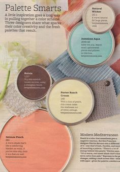 Cilenia's Beautiful Mess: Technique Thursday - Color and Texture I saved this magazine clipping in real life Paint Schemes, Colour Schemes, Color Combos, Paint Combinations, Wall Colors, House Colors, Laundry Room Colors, Bathroom Colors, Peach Bathroom