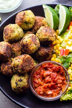 Mexican Vegan Falafel Bites that are healthy and easy to make! A quick vegan falafel recipe that's packed full of flavor and gluten free. A… (Vegan Thanksgiving Appetizers) Healthy Mexican Recipes, Whole Food Recipes, Vegetarian Recipes, Cooking Recipes, Vegetarian Mexican, Vegan Falafel Recipe, Vegan Food, Healthy Finger Foods, Clean Eating