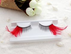 Out Winged Red Feather Lashes