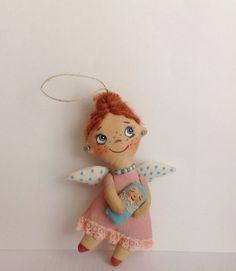 Christmas angel-Handmade Angel-Little Angel-Christmas Tree Angel Doll-Xmas Gift Idea-Cloth doll-Doll Angel-Soft Doll-Miniature doll-Angel-Cloth art doll-OOAK ART doll-Texti... #artdoll #pattern #handmadedoll #pdf #sewing