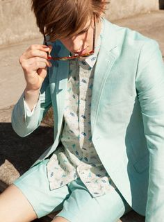 Topman Summer Suit - Green Oxford Suit Jacket and shorts.