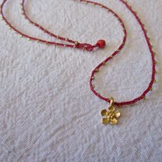 Red and Gold daintiest crocheted beaded necklace by TrueJune.etsy.com. My new series of tiny, minimalist necklaces.