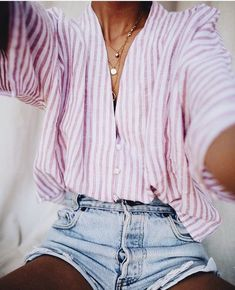 Pretty pink and white striped top with denim shorts.