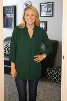 Stitch Fix Stylist- Love this Colibri Solid Tab Sleeve Blouse in Green and the light colored cardigan she got!