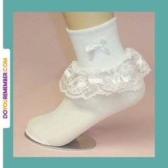 Ah, the frilly lace sock...little girls wore them with jellies or mary janes, big girls wore them with pumps.
