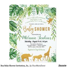 The perfect Bohemian Baby Shower Invitation, Jungle theme Baby Shower Invitation, animal theme invitation Baby Shower Invitation Cards, Baby Shower Invitations For Boys, Baby Shower Themes, Baby Boy Shower, Baby Shower Parties, Shower Ideas, Invitation Card Maker, Invitation Ideas, Safari Invitations