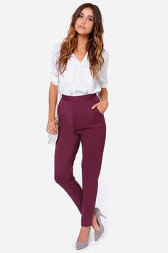 Burgundy Pants - Purple Trousers - High Waisted Pants - $38.00