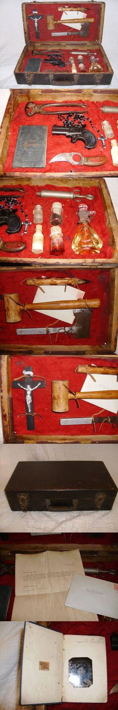 How cool (and weird) is this? In the 19th century travellers apparently carried a 'vampire hunting' kit with them when they travelled to Eastern Europe. This included a wooden weapon, a Bible, a loaded pistol and garlic. Try getting this through security today!