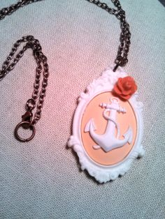 Peach & White Anchor Necklace Nautical Cameo by HeartsAndDartsShop