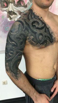 Tattoos :Turning Your Imaginative Into Reality - Wormhole Tattoo 丨 Tattoo Kits, Tattoo machines, Tattoo supplies 3d Tribal Tattoo, Tribal Tattoo Cover Up, Tribal Tattoo Designs, Tattoo Sleeve Designs, Cover Tattoo, Schulterpanzer Tattoo, Biomech Tattoo, Stone Tattoo, Tattoo Kits