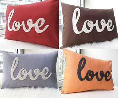 Love these custom 'love' pillows from Honey Pie Designs for $39 - they also have 'smile', 'relax' and 'sleep' - cute lil etsy shop!