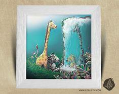 Cadre carré 25x25 cadeau Naissance avec Illustration Jungle girafe et zèbre pour Chambre Enfant bébé