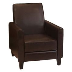 Best Selling Home Decor Darvis Leather Push Back Recliner - Brown - 235045