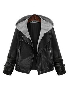 Fashion Elegant Fake Two-piece Hooded Leather Jacket Coat For Women  - Newchic Plus Size Outerwear Mobile.
