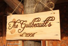 Wood Burned Custom Rustic Wedding Plaques Names Cabin Signs Personalized.