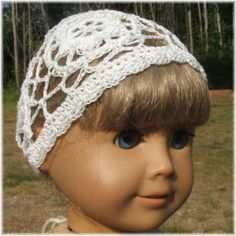 Classic and lacy style hat for the American Girl or similar 18 inch doll.