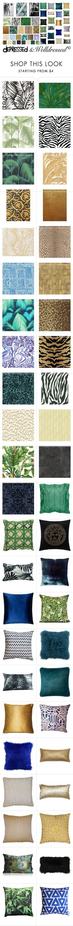 """BlueMonday: Blue & Green for your home"" by beingsilly ❤ liked on Polyvore featuring interior, interiors, interior design, home, home decor, interior decorating, Taschen, Versace, Cole & Son and York Wallcoverings"