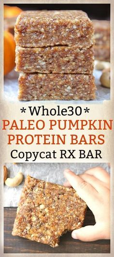 Paleo Pumpkin Protein Bars Copycat RXBar- easy to make, nobake, and so delicious! gluten free, and dairy free. paleo diet whole 30 Whole 30 Snacks, Whole 30 Recipes, Whole Food Recipes, Snack Recipes, Diet Recipes, Paleo Pumpkin Recipes, Pumpkin Recipes Whole 30, Whole Food Desserts, Whole 30 Dessert