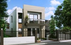 50 Small Two-storey House Designs That Can Be Fitted In Small Lot Area Two Story House Design, 2 Storey House Design, Bungalow House Design, Small House Design, Cool House Designs, Modern House Design, Duplex House, Two Storey House Plans, Small House Floor Plans